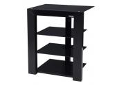 Norstone Piu Black mueble HIFI de 4 estantes, madera lacada negra, con cristales